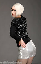 Broad Minded Clothing Sequin High Waist Burlesque Pinup Shorts Hot Pants VLV L