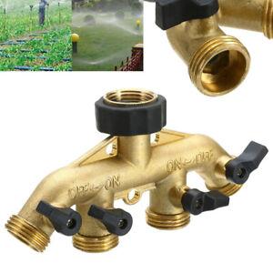 Messing Wasserverteiler 4 Wege Hahnanschluss Schlauch Verteiler Gartenschlauch