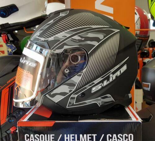 Casco Moto Scooter  jet S-Line S768 Nero Camouflage Doppia Visiera tg L 59//60