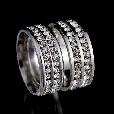Men Women CZ Stainless Steel Ring Bridal Wedding Engagement Band Rings Fashion