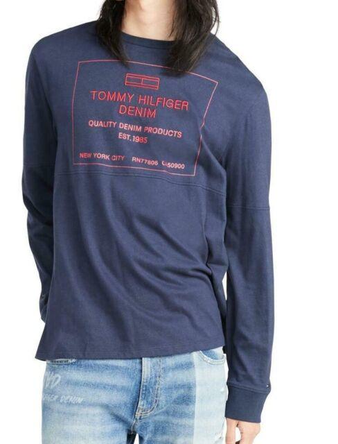 Tommy Hilfiger Mens Shirt Navy Blue Size Medium M Longsleeve Graphic $39 #012