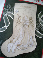 Dimensions Crewel Stitchery Christmas Holiday Stocking KIT,IVORY ANGEL,8087,NIP