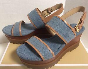 91b663da057c New In Box Michael Kors Gillian Denim Women Double Platform Sandals ...
