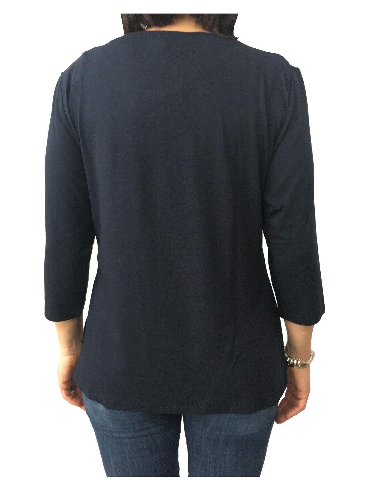 ELENA MIRÒ t-shirt donna blu blu blu manica 3 4 97% viscosa 3% elastan 8a72c7