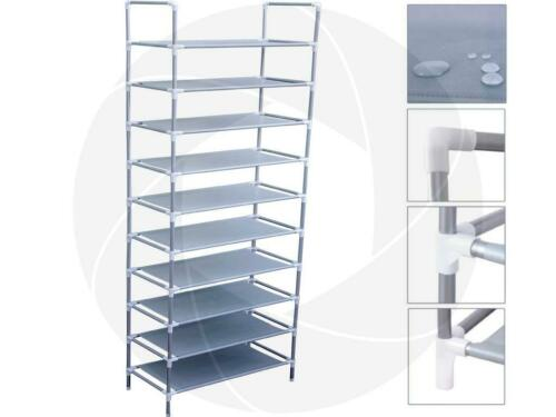 10 Tiers 30 Pair Shoe Rack Shelf Holder Storage Organizer Aluminum Closet Stand