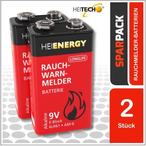 2er Blister 3x 2 HEITECH Longlife Alkaline Rauchmelder Batterien 9Volt E-Block