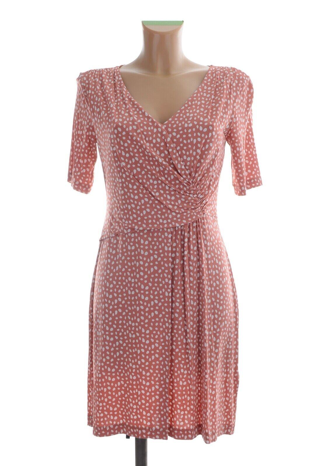 PESERICO Designer Viskose Damen Kleid Gr. It. 44-38 40 M Lachs Weiß