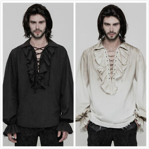 Punk-Rave-Steampunk-Gothic-victorian-open-laced-chest-Mens-T-Shirt-Top-clothing