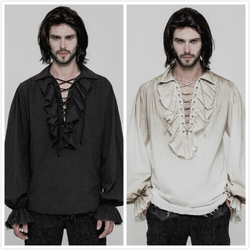 Punk Rave Steampunk Gothic victorian open laced chest Mens T Shirt Top clothing