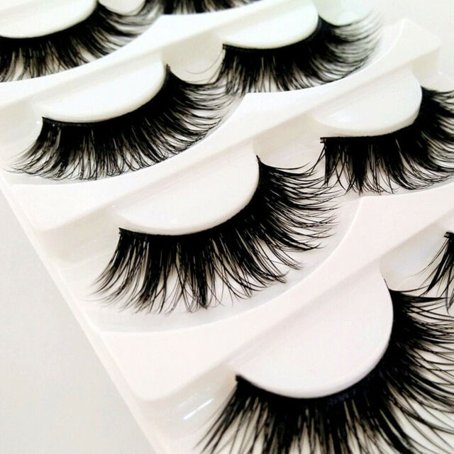 80c06b034f0 5 Pairs Natural Handmade Long Soft Makeup Cross Thick False Eyelashes