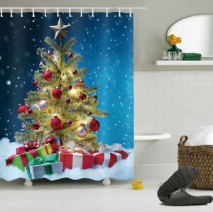 Image Is Loading 72 034 Shower Curtain Christmas Tree Snow Gift