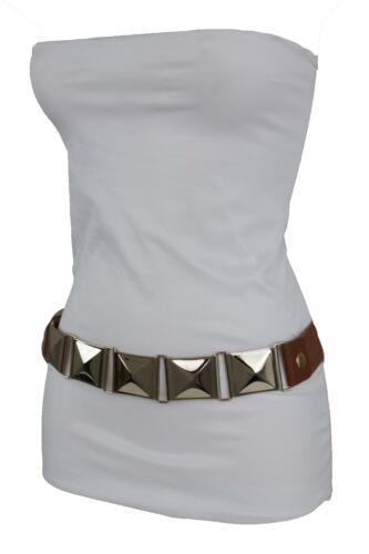 Donna Stretch Oro Divertente Alta Moda Marrone Cintura Metallo Fianco Vita OPZiuTklXw