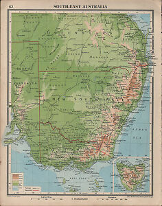 Map South East Australia.1939 Map South East Australia New South Wales Victoria Inset