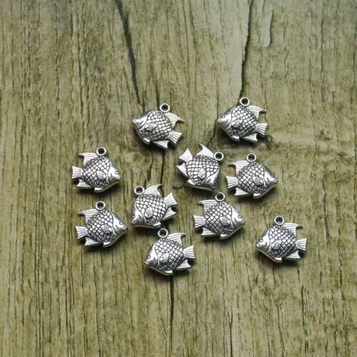 Bulk 50PC Tibetan Silver 3D Fish Charm Pendant For DIY Earrings//Bracelet