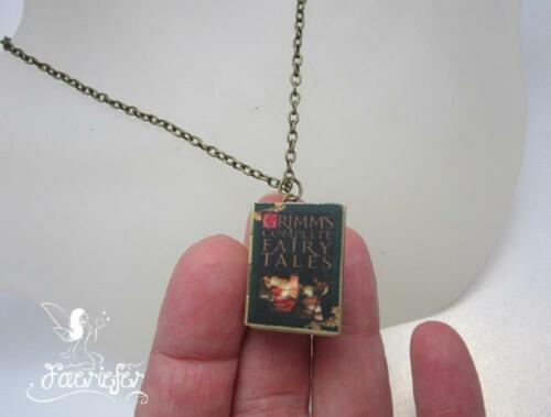 Grimms Fairy Tales Book Locket necklace fairytale jewellery gift on bronze chain