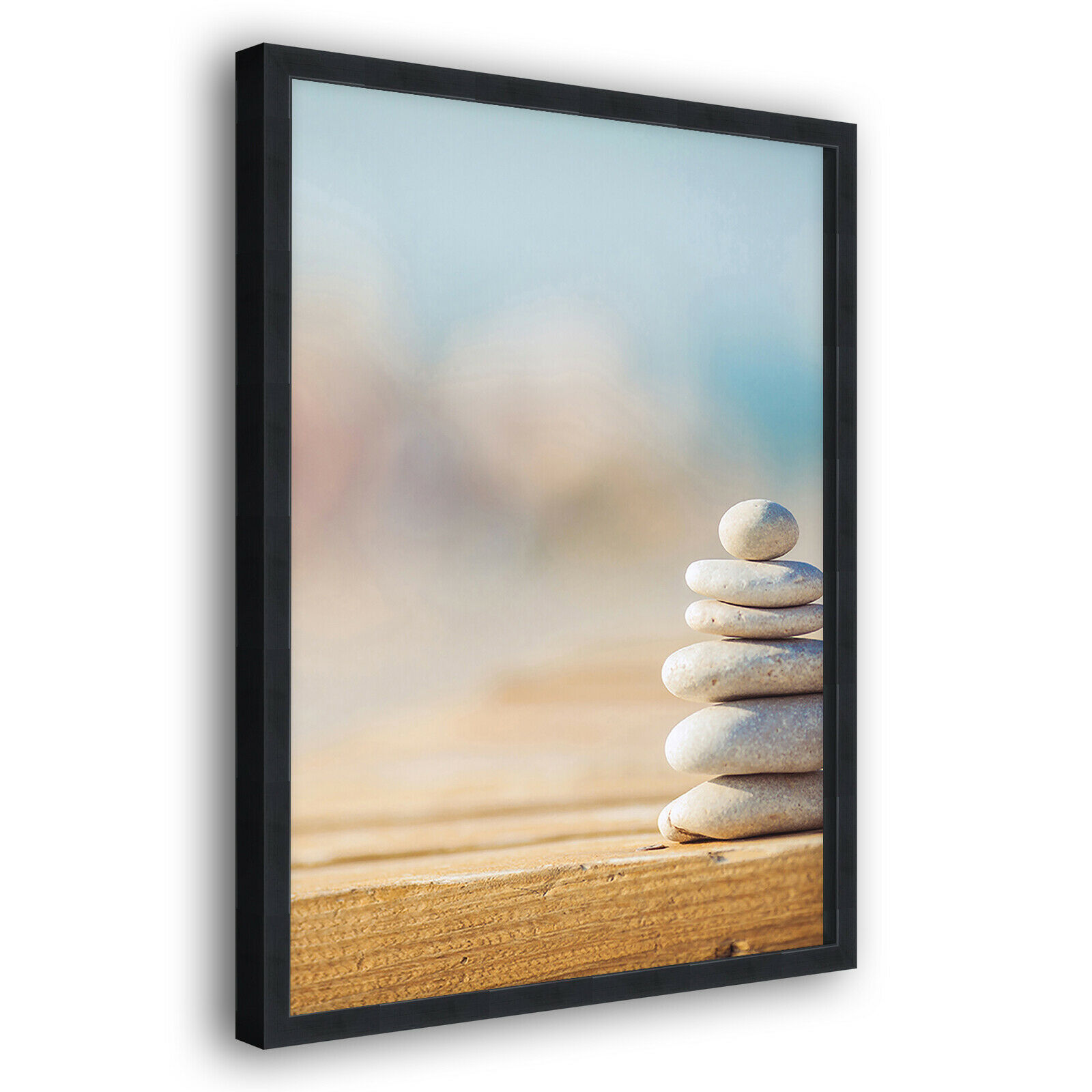 Blau Stones Beach Modern Portrait Abstract Framed Wall Art Large Picture Prints