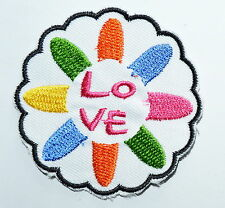 HOT SALE! Lovely Love Flower Iron On patch Shirt Hat Jean shoes Applique