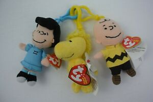 3 Ty Beanie Babies Peanuts Key Clips Charlie Brown Woodstock Lucy Mint w Tags