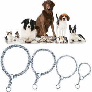 Mascota-Perro-Cebador-Cadena-De-Acero-Inoxidable-Collar-Entrenamiento-Caminar-Slip-Gargantilla