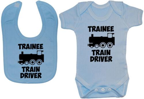 Trainee Train Driver Baby Grow Bodysuit Vest Romper /& Feeding Bib 0-24m Gift
