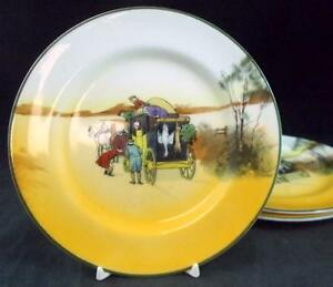 Royal-Doulton-COACHING-DAYS-SMOOTH-BONE-3-Dessert-Plates-I-E3804-GREAT-CONDITION