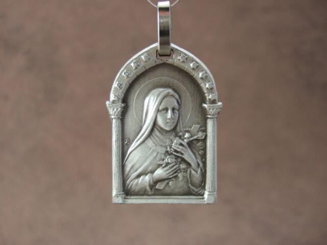 Vintage Catholic St. Therese Pendant Medal Signed JB France