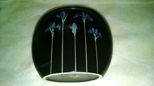 Vintage-Japan-Otagiri-Cloisonne-Black-Blue-Iris-24K-Gold-Gilt-Trim-Flower-Vase
