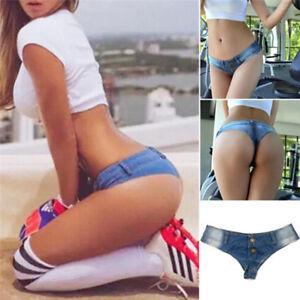 Femmes-bikini-taille-basse-jeans-denim-pantalon-shorts-sexy-Bottom-mini-String-t