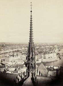 Notre Dame Cathedral  View of spire, roof and cityscape 1860 by Charles Marville