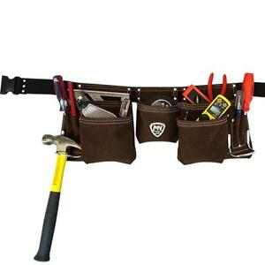 Suede-Leather-Apron-Carpenter-Tool-Belt-Pouch-Hammer-Holder-11-Storage-Pockets