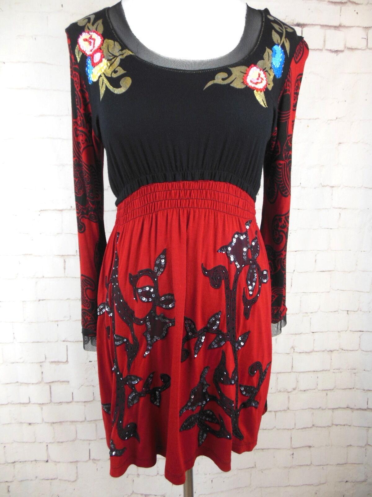 ..KRISTA LEE Multi-Farbe Embellished rot & schwarz Mini Dress or Tunic Sz S