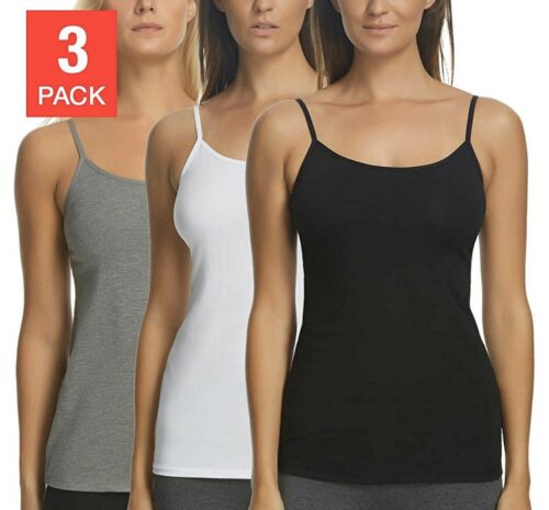 NEW COLOR and SIZE VARIETY Felina Ladies' Cotton Stretch 3-pack Camisole