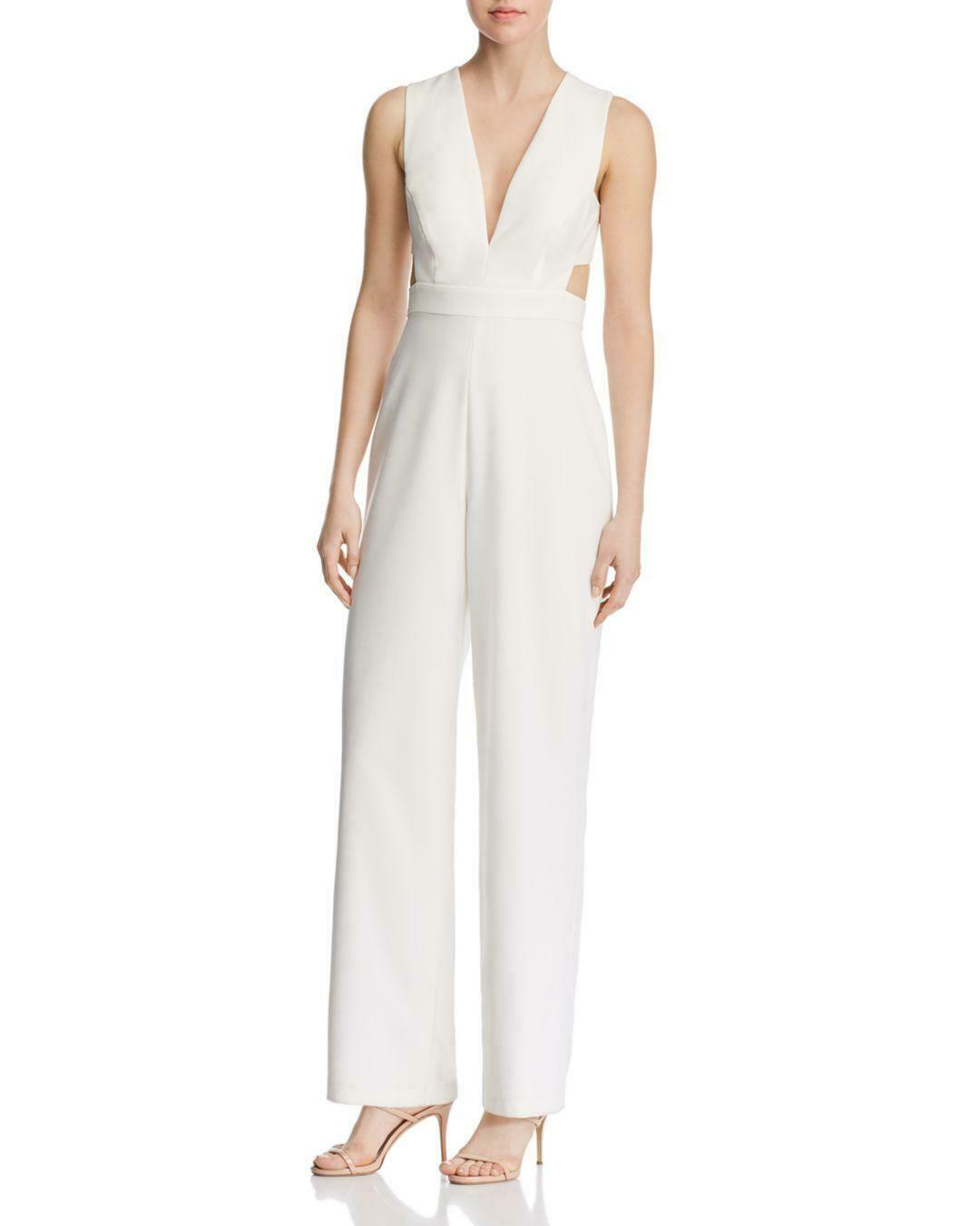 Aidan by Aidan Mattox Plunging Crepe Jumpsuit Size 8  C586