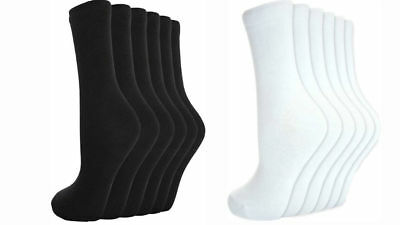 24 Paia Men's Donne Ragazze Girls Crew Socks Calzini Di Cotone Tinta Unita Nero/bianco- Una Grande Varietà Di Modelli