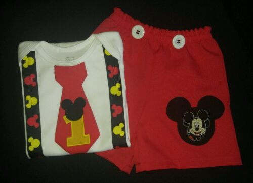 12M,18M 24M Custom Personalized Mickey Mouse Birthday Party Outfit set
