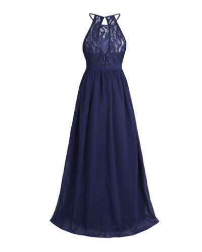 UK Halter Girls Dress Long Maxi Gown Wedding Bridesmaid Party Flower Girl Dress