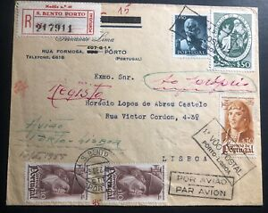 1945-Porto-Portugal-Return-First-Flight-Airmail-FFC-Cover-To-Lisbon