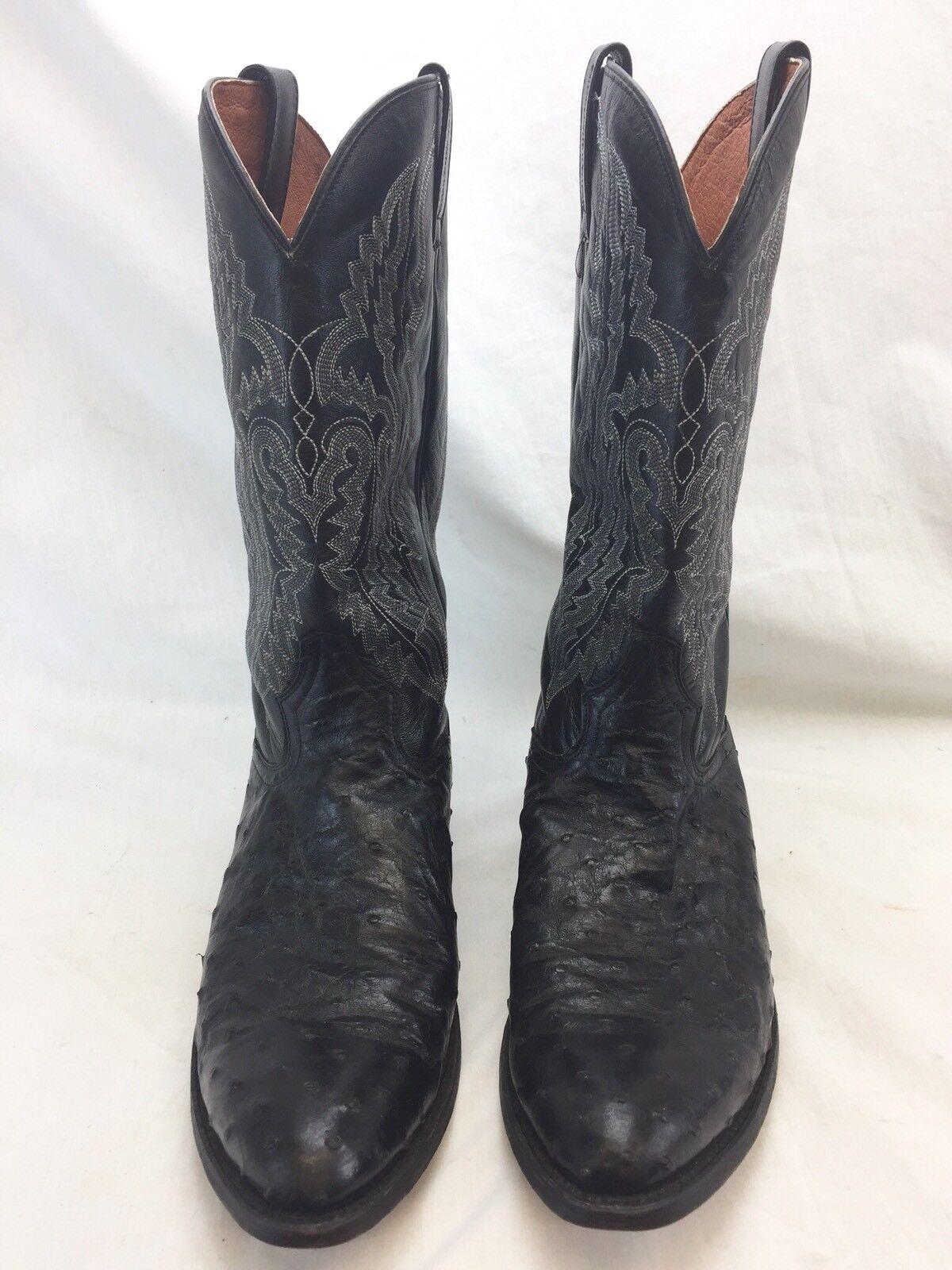 post  Herren dan post  schwarz ostrich Leder western cowboy Stiefel Größe 11 1/2 D 2310 1d640a