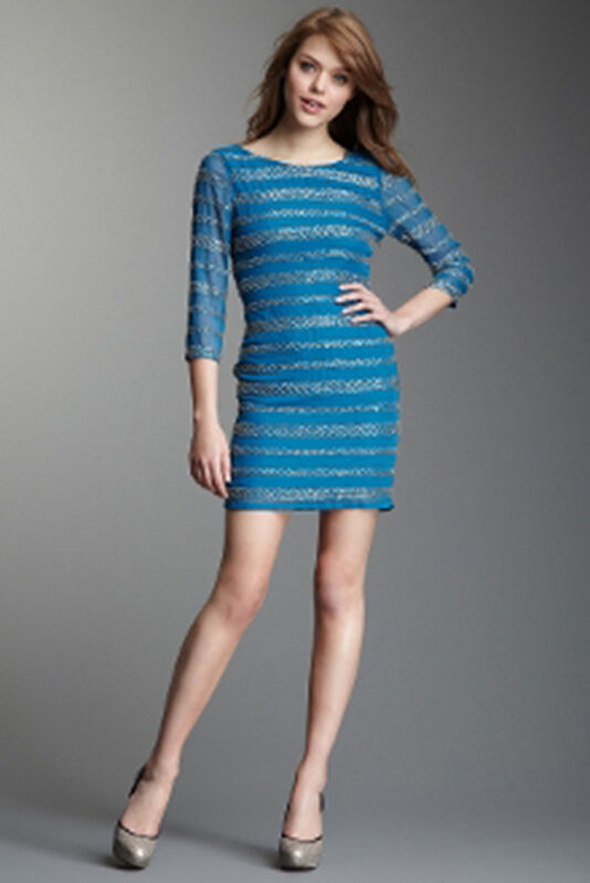 Romeo & Juliet Couture bluee Sequin Trim 3 4 Sleeve Dress Size Small NWT
