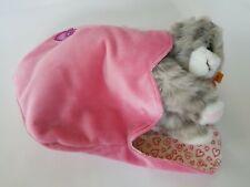 EAN 099311 Cute New NR STEIFF CINDY GRAY TABBY CAT Plush IN Pink HEART BAG