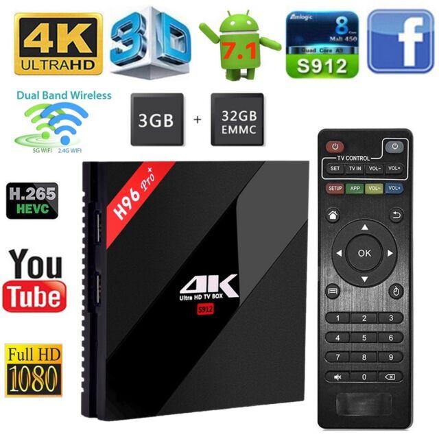 H96 Pro Plus Android7.1 TV Box 3G+32G Amlogic S912 Octa Core 4K Wifi Set Top Box