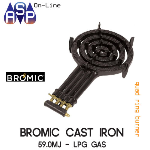 BROMIC CAST IRON QUAD RING BURNER COOKER LPG WITH HOSE AND REG PART# RB50