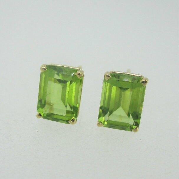 14K Yellow gold Peridot Emerald Cut Earrings