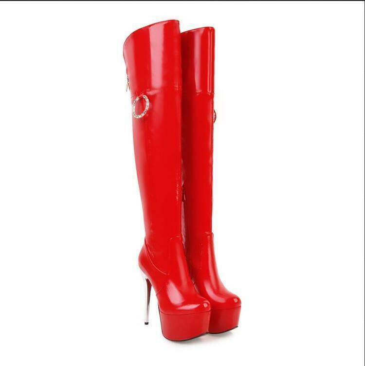 Zip Over The Knee Stivali Club Shoes Donna S88 Metal Decor Super Stiletto Heels S88 Donna 931095