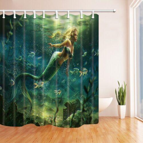 "Mermaid Girl Sea Bathroom Waterproof Fabric Shower Curtain Extra Long 72/"" x 84/"""