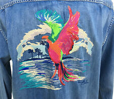 TOMMY BAHAMA EMBROIDERED DENIM SHIRT NWT NEW $158 RETAIL SNAP 24 PARROT GOLD 2XL