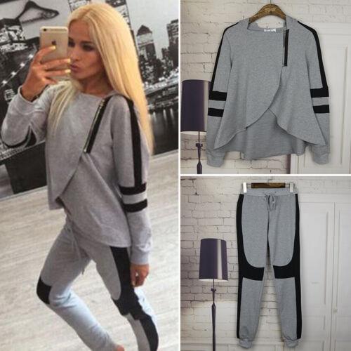 2Pcs Womens Tracksuit Hoodie Asymmetric Tops Pants Set Lounge Wear Sport Suit