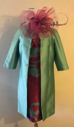 CARLA RUIZ MOTHER OF THE BRIDE  PINK /& AQUA DRESS /& COAT UK SIZE 10