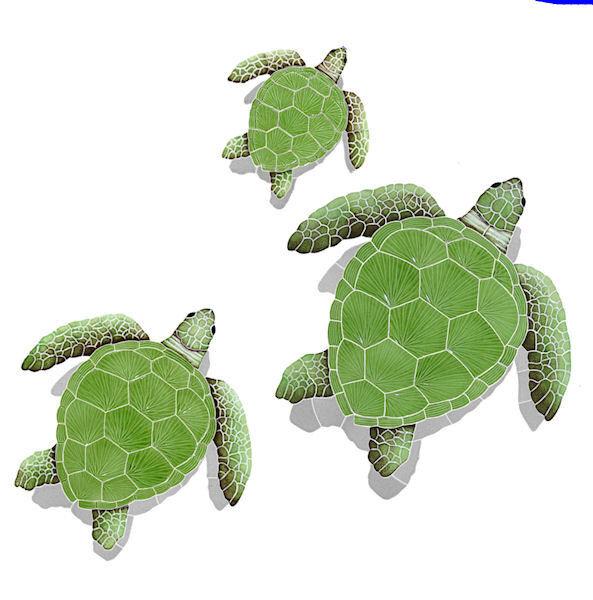 Azulejo de mosaico Loggerhead tortuga con sombra Piscina Cubierta de unidad de parojo Mozaic Contador Caminar
