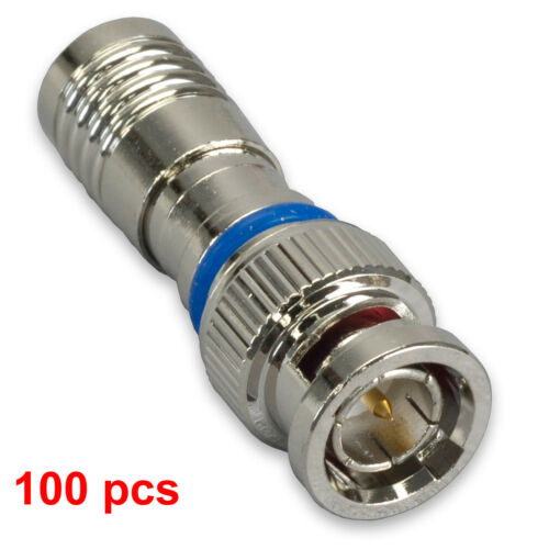 100 BNC COMPRESSION COAX CONNECTOR RG59 CABLE CCTV MALE